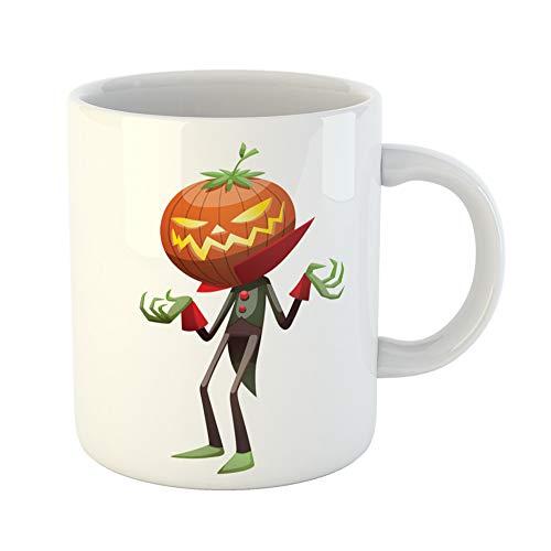 Emvency Coffee Tea Mug Gift 11 Ounces Funny Ceramic Cartoon of Jack O Lantern Orange Pumpkin Instead Head in Green Black Tail Gifts For Family Friends Coworkers Boss Mug]()