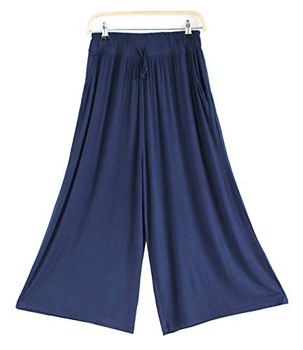HOW'ON Women's Elastic Waist Wide Leg Casual Palazzo Capri Culottes Pants Soft Knit Cropped Pants with Drawstring Blue XXL