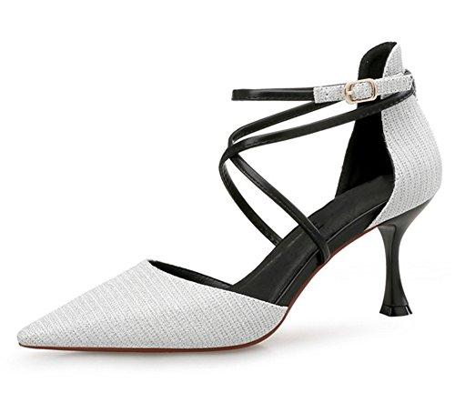 Tacones Cruz Nvxie Sexy De Zapatos Principios Sandalias Primavera 34 Altos Mujeres Baotou Correa 38 Verano Silver Moda Individuales q7zCwqg