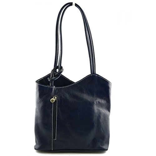 Genuine Made Woman Color Tuscan Italy Blue Leather In Shoulder Leather Bag Bag wOFOqS1E