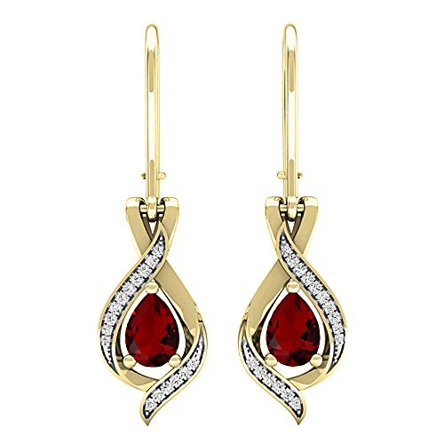 Dazzlingrock Collection 10K 7X5 MM Each Pear Garnet & Round White Diamond Ladies Drop Earrings, Yellow Gold
