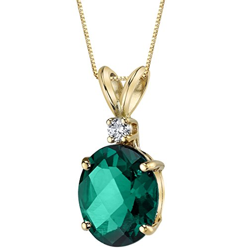 (14 Karat Yellow Gold Oval Shape 2.50 Carats Created Emerald Diamond Pendant)