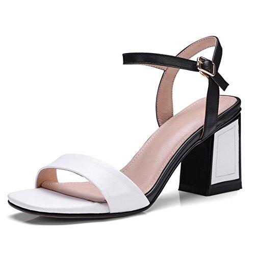 Mujer 42 White Bloquear Zapatos Blanco Strappy Tacón Nvxie Para Cuero Mujeres Vespertino Sandalias Boda Tamaño Fiesta 35 ZavC1w