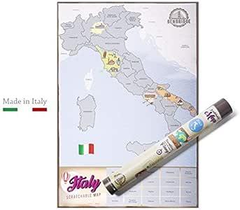 Mapa de Benbridge Scratchable. El único mapa fabricado en Italia. Mapa de Italia para rascar. Viaja y rasca la región que has visitado. Personaliza tu mapa: Amazon.es: Oficina y papelería