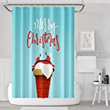 Asoco Shower Curtain Set with 12 Hooks Cartoon Christmas Character Stuck Chimney of Fireplace Funny Cute ChristmasPolyester Fabric Waterproof Bath Curtain 72X78 Inches Decortive Bathroom