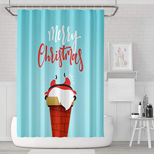Asoco Shower Curtain Set with 12 Hooks Cartoon Christmas Character Stuck Chimney of Fireplace Funny Cute ChristmasPolyester Fabric Waterproof Bath Curtain 72X78 Inches Decortive Bathroom by Asoco