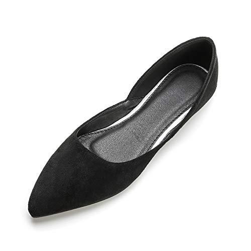 Meeshine Womens Pointed Toe Ballet Flats Comfort Suede Slip On Flat Dress Shoes Dorsay Black US 9.5