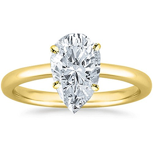 1/2 Carat GIA Certified 14K Yellow Gold Solitaire Pear Cut Diamond Engagement Ring (0.5 Ct I-J Color, SI1-SI2 Clarity) ()