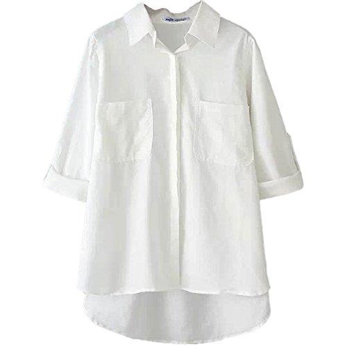 Najia Symbol Womens Casual Plus Size Long Sleeve linen Blouse Showomen161 (White, 2X)