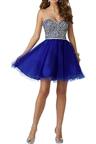 MILANO BRIDE Cocktail Dress Short Party Dresses Strapless Beadings Tulle Sweetheart-4-Royal Blue