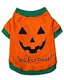 Aslaylme Pet Halloween Puppy Pumpkin Costume T-Shirt for Small Dogs Cats (Medium(5.5lb-8.8lb), Orange) Larger Image