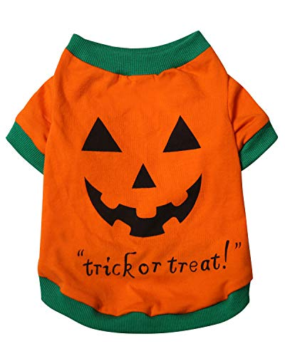 Aslaylme Pet Halloween Puppy Pumpkin Costume T-Shirt for Small Dogs Cats (Small(3.3lb-5.5lb), Orange)]()