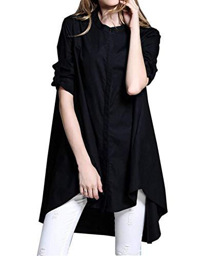 Manches Irrgulier Mode Haut Femme Trendy lgant Chemisier Noir Mode Avant Costume Bouffant Automne Lannister Jeune Rond Manche Chemisiers Fashion Col Loisir Longues Chemise Uni Poches Chic Button SUx6fEqn4