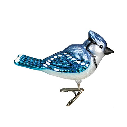 Old World Christmas Ornaments: Bright Blue Jay Glass Blown Ornaments for Christmas Tree