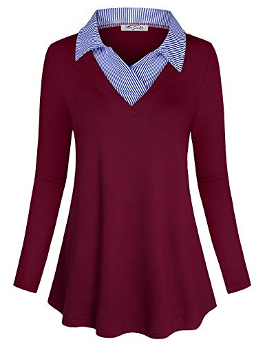 (SeSe Code Career Tops for Women,Layered Shirts Ladies Blouses Business Casual Clothes Maroon Holiday V Neck Polo Collar Spring Easy Fit Comfort Flowy Tunic Wine Red)