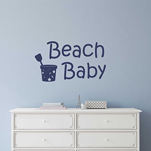 Aloha Baby Wall (Beach Baby Vinyl Wall Decal Wall Sticker - Beach Wall Sign - Beach Paradise Aloha Palm Trees Sandy Toes Theme Custom Wall Decal Sticker)