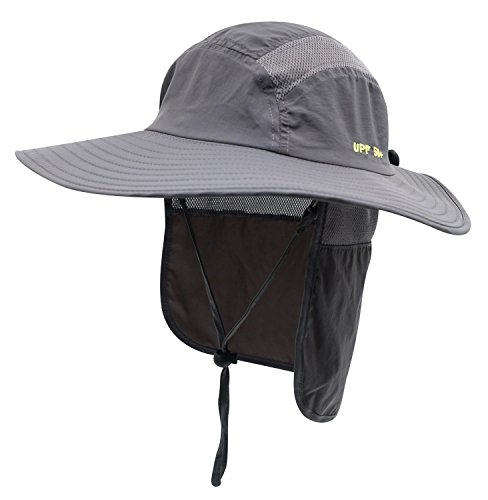 Wide Cap (Home Prefer Adult UPF 50+ Sun Protection Cap Wide Brim Fishing Hat with Neck Flap Dark Gray)