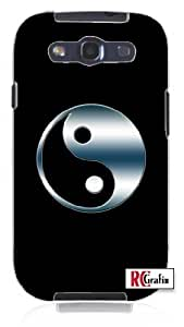Yin Yang Symbol in Smokey Blue Chrome Unique Quality Hard Snap On Case for Samsung Galaxy S4 I9500 - White Case