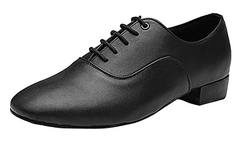 TDA Men's Classic Lace-up Black Leather Tango Ballroom Salsa Latin Dance Wedding Shoes 8 M US by TDA
