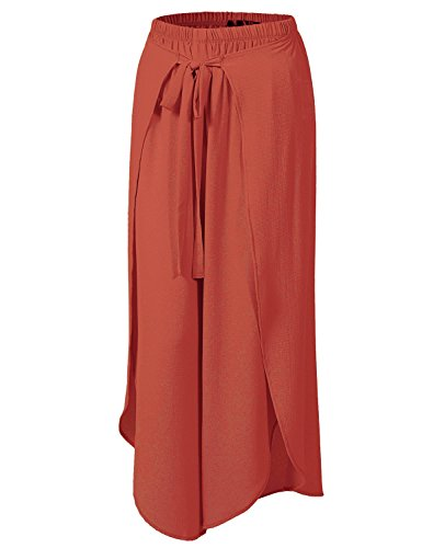 Thin Lightweight Rayon Wrap High Side Split Pleated Palazzo Wide Leg Pants