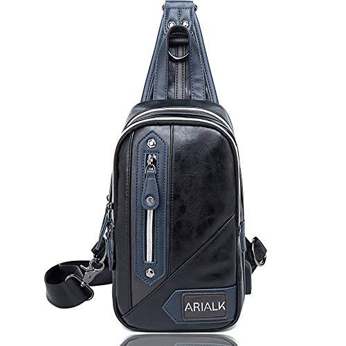 1ec84b1c2885 ARIALK 斜めがけ ボディバッグ メンズ バッグ レザー ワンショルダー バック 肩掛けバッグ iPadmini USB 通勤