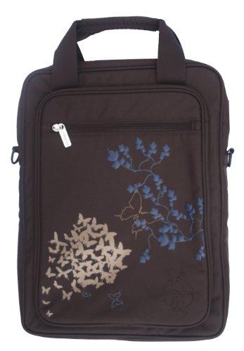 Lässig Umhängetasche Notebooktasche Laptoptasche Messenger Bag Schultertasche, Reißverschlußtasche vorn mit abnehmbarem, verstellbarem Schulterriemen für 13-15 Zoll, Butterfly choco