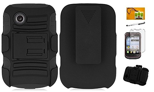 LG Aspire LN280 / 306G / LG 305C, LF 4 in 1 Bundle - Hybrid Armor Stand Case with Holster and Locking Belt Clip, Stylus Pen, Screen Protector & Wiper for (Tracfone StraightTalk Net10) LG 306G / LG 305C (Holster Black)