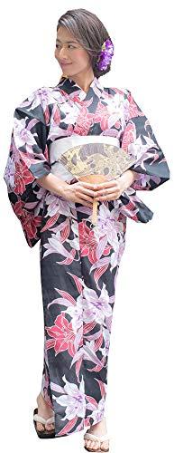 Kimura Jitsugyo Women's Kyoto Traditional Easy Wearing Kawaii Yukata Robe(Japanese Casual Kimono) Full Set 4 Black & Lily Woman 15 Woman ()