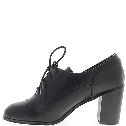 Cuero de 9 cm de tacón negro Oxford mujer alta tamaño con cordones