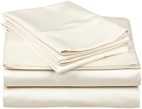 4PCs Sheet set 400 Thread count 100% Cotton Sheet Ivory Solid Full-XL Sheets Long Staple Cotton Fits Mattress Upto 15