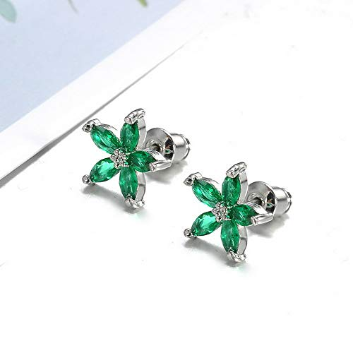 Tomikko Vintage 925 Silver Snowflake Five Star Flower Blue Sapphire Ear Stud Earrings | Model ERRNGS - 11391 |