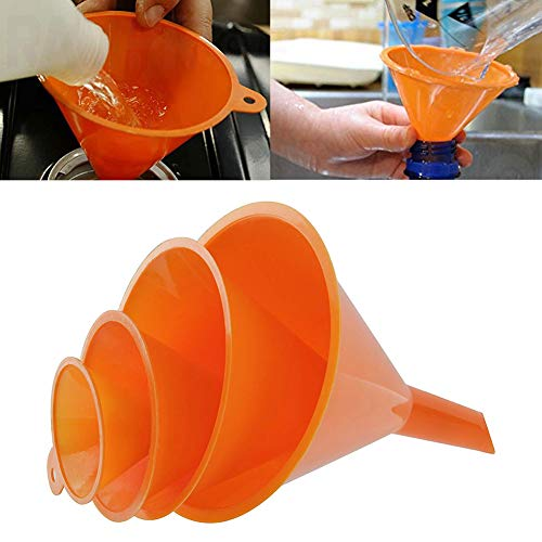 yanbirdfx 4Pcs/Set Plastic Funnels Pour Oil Fuel Petrol Hopper Kitchen Car Refueling Tool - Orange