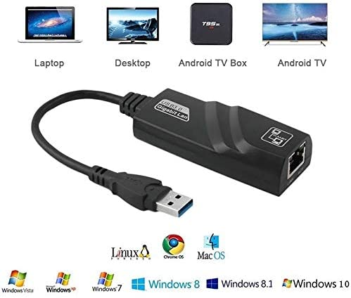 RONSHIN USB 3.0 to 10//100//1000 Mbps Gigabit RJ45 Ethernet LAN Network Adapter for PC