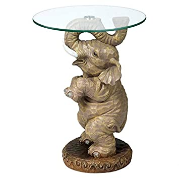 Design Toscano Good Fortune Elephant African Decor Glass Topped Side Table, 21 Inch, Polyresin, Full Color – EU32144
