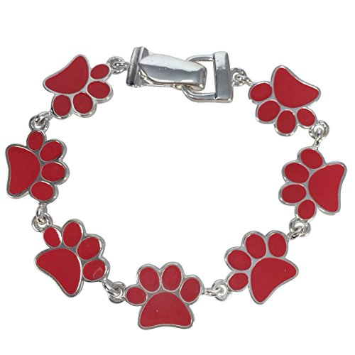 Paw Print School Spirit Mascot Silver Tone Magnetic Clasp Bracelet - Assorted Colors -