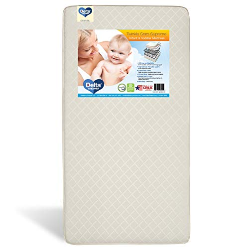 Delta Children Twinkle Stars Supreme Innerspring Crib and Toddler Mattress   Waterproof   GREENGUARD Gold Certified (Natural/Non-Toxic)