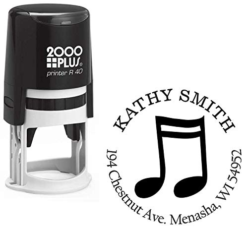 (StampExpression - Sixteenth Note Music Custom Return Address Stamp - Self Inking. Personalized Rubber Stamp with Lines of Text (A-7056))