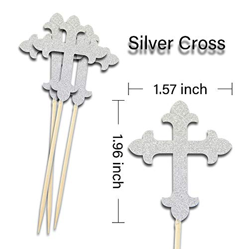 JOLALIA 50PCS Cross Cupcake Toppers, DIY Cupcake Decoration, Cross Party Supplies for Baptism Decorations, Christening Party, Confirmation Wedding (Silver) by JOLALIA (Image #3)