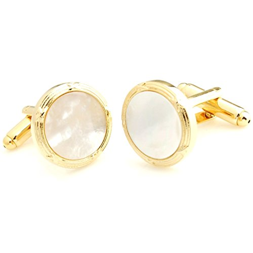 The Smart Man Elegant White Stone Round Cufflinks and Tuxedo Studs Set for Mens Gift by The Smart Man (Image #1)