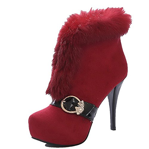 Allhqfashion Womens Zacht Materiaal Ronde Gesloten Teen Assortie Kleur Low-top High-heels Laars Rood