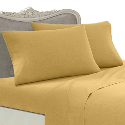 - ITALIAN 1000 Thread Count Egyptian Cotton Sheet Set DEEP POCKET, King, Gold Solid, Premium ITALIAN Finish