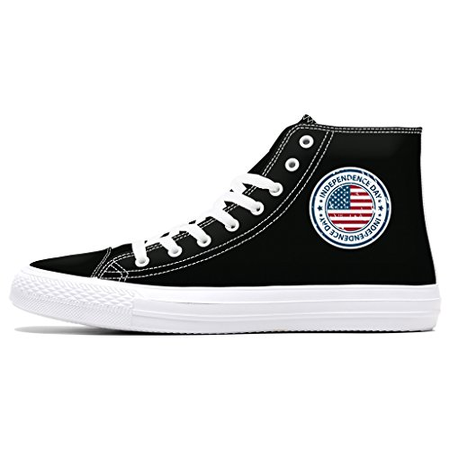 First Dance Independence Flag Print Donna Sneaker Alta Moda Di Pizzo Nero Canvas Canvas