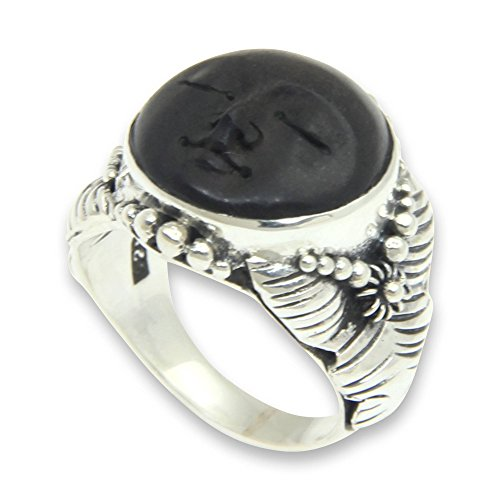 NOVICA .925 Sterling Silver Carved Ebony Wood Ring 'Amun Ra' ()
