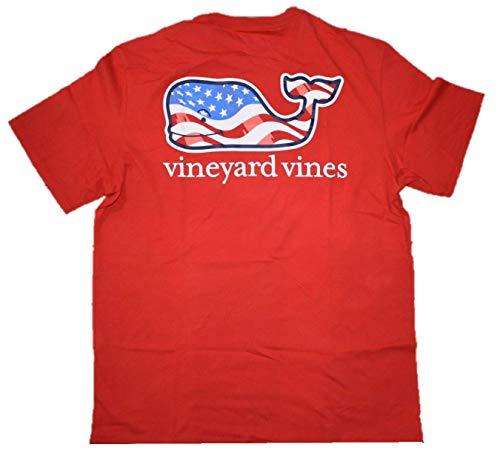 Vineyard Vines Men's Short Sleeve Graphic Pocket T-Shirt (X-Small, Waving Flag Whale Fill/Patriot (Fill Short Sleeve T-shirt)