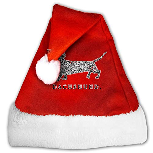 Red and White Christmas Hat, Naughty Dachshund Doxen Weiner Word Art Dog Owner Gift 1 Candy Hat for Childrens and Adults]()