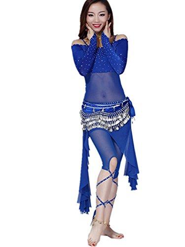 Ropa de baile Traje de danza del vientre Set Sling Off Shoulders Top & Exotic falda Pantalones dark blue(top+pant+waist skirt+hip scarf)