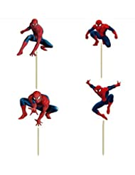 Pack of 24 Spiderman Cupcake Topper Picks Boy Children Party Decoration Kid's Birthday Party Decoration Supplies