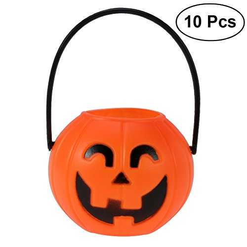 (TOYMYTOY Halloween Portable Pumpkin Bucket 10pcs 7cm Children Trick or Treat Pumpkin Candy Pail Holder (Curved Eyes))