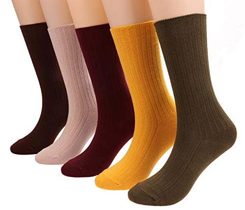 Womens Cotton Crew Socks Lightweight Knit Boot Socks Solid Color 5 Pairs 5-10 Bz3
