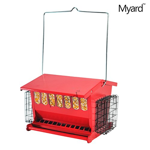 myard-metal-hopper-double-sided-bird-feeder-2-suet-cake-feeders-mbf-7452n-r-red